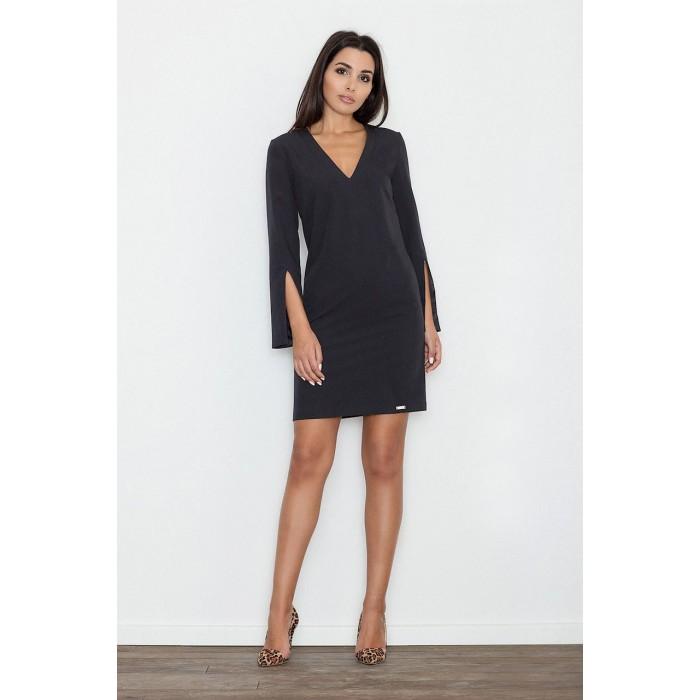 Dámske čierne koktejlové šaty s prestrihnutými rukávmi M550 7cf31b3e5ee