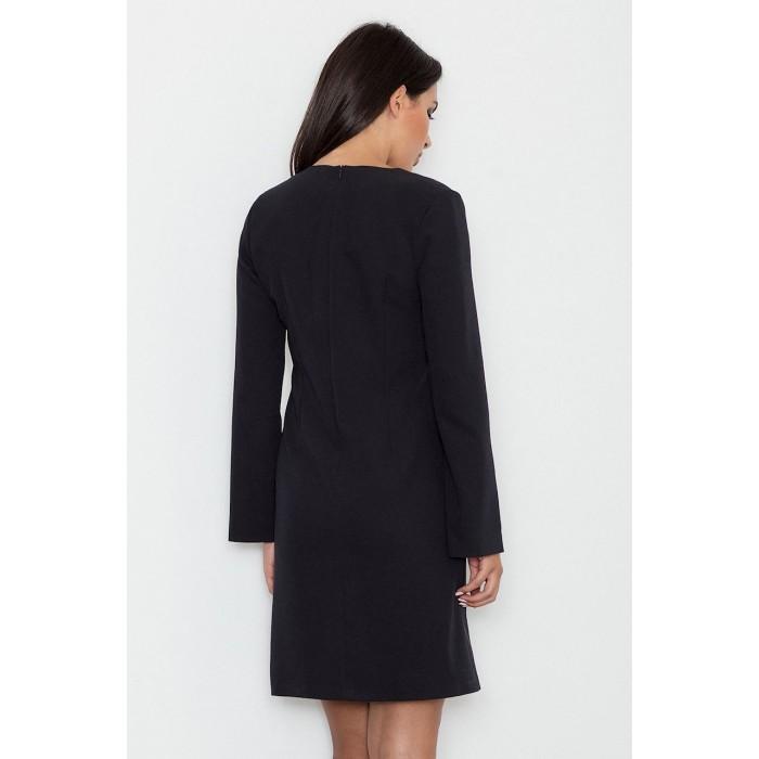 642cfa1aec21 Dámske čierne koktejlové šaty s prestrihnutými rukávmi M550