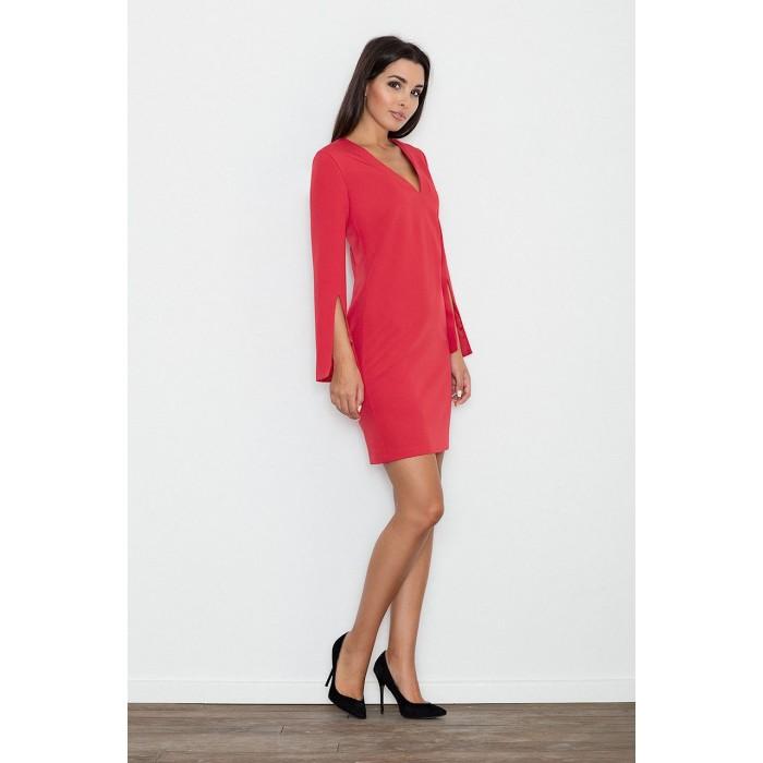 1dc0c28eb012 Dámske červené koktejlové šaty s prestrihnutými rukávmi M550