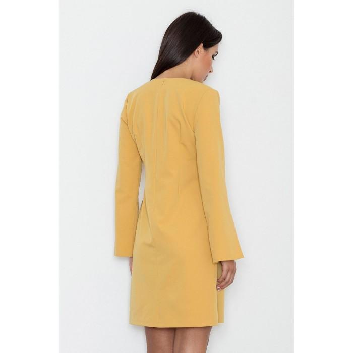 ac82ac4fa84f Dámske žlté koktejlové šaty s prestrihnutými rukávmi M550