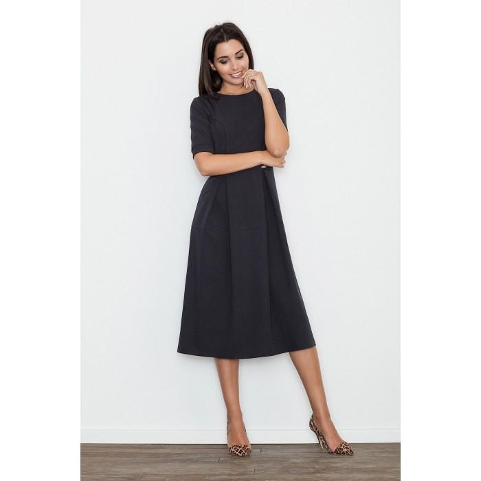 eef50a83b42b Dámske čierne MIDI šaty s krátkym rukávom M553