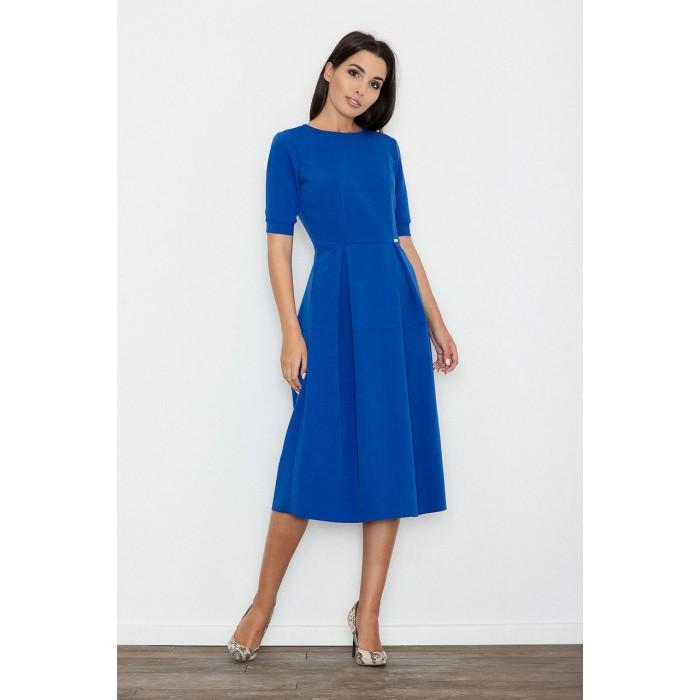 63e552159b48 Dámske modré MIDI šaty s krátkym rukávom M553