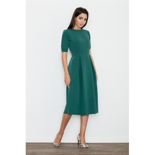 Zelené MIDI šaty s krátkym rukávom M553 XL