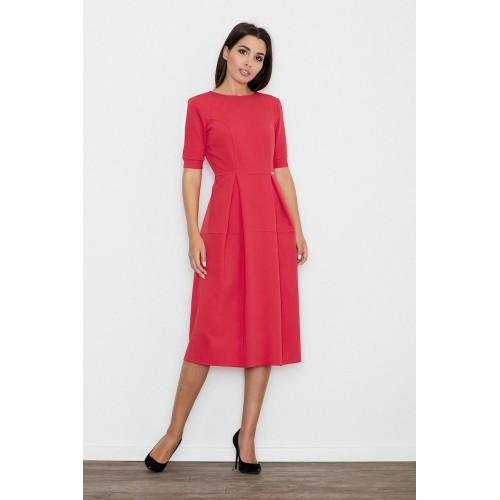 Červené MIDI šaty s krátkym rukávom M553 XL