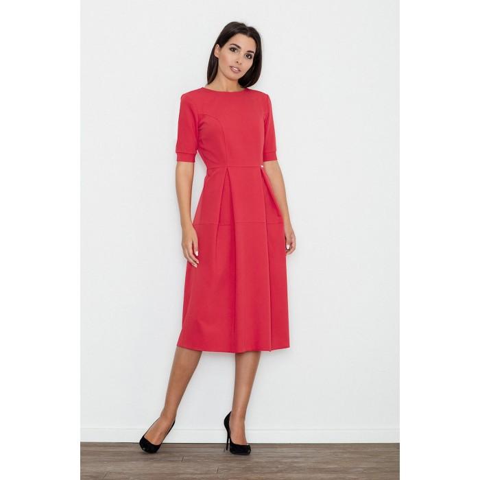 Dámske červené MIDI šaty s krátkym rukávom M553 c638efc3bf