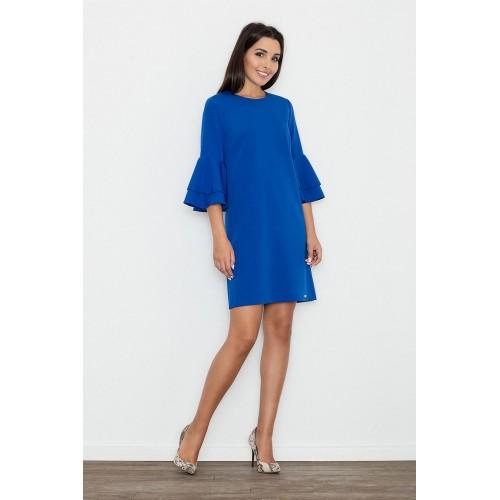 Modré koktejlové šaty s volánmi na rukávoch M564 L