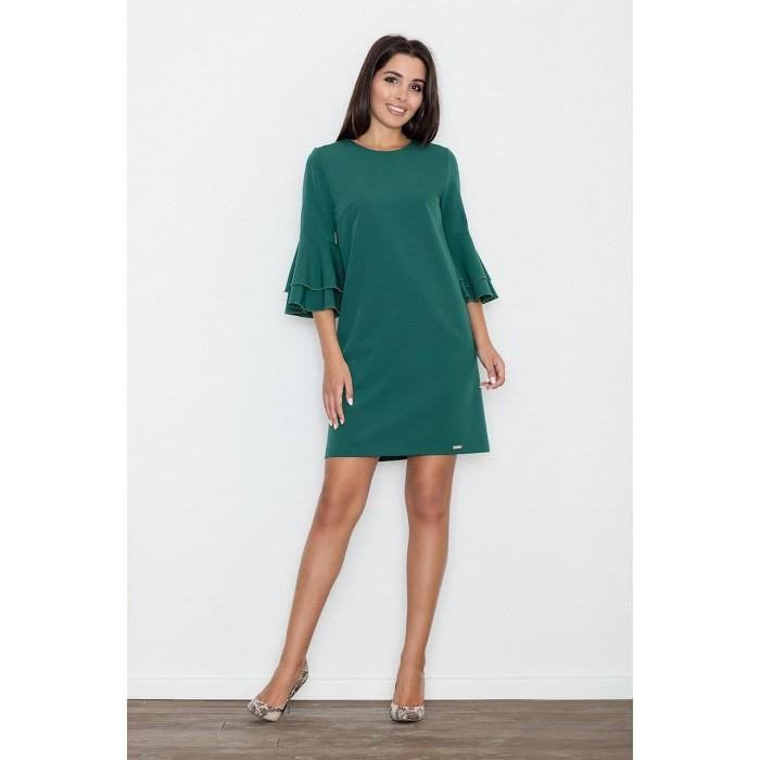 Dámske zelené koktejlové šaty s volánmi na rukávoch M564 2336ee7a0f