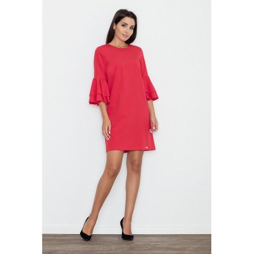 Dámske červené koktejlové šaty s volánmi na rukávoch M564