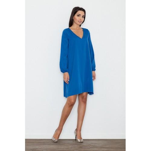 Dámske modré áčkové šaty s voľnými rukávmi M566