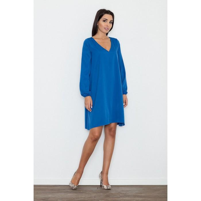 0eaef2970c12 Dámske modré áčkové šaty s voľnými rukávmi M566