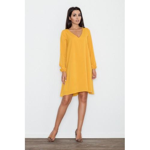 Dámske žlté áčkové šaty s voľnými rukávmi M566