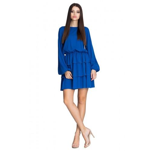 Kráľovsky modré úpletové šaty s troma volánikmi M601