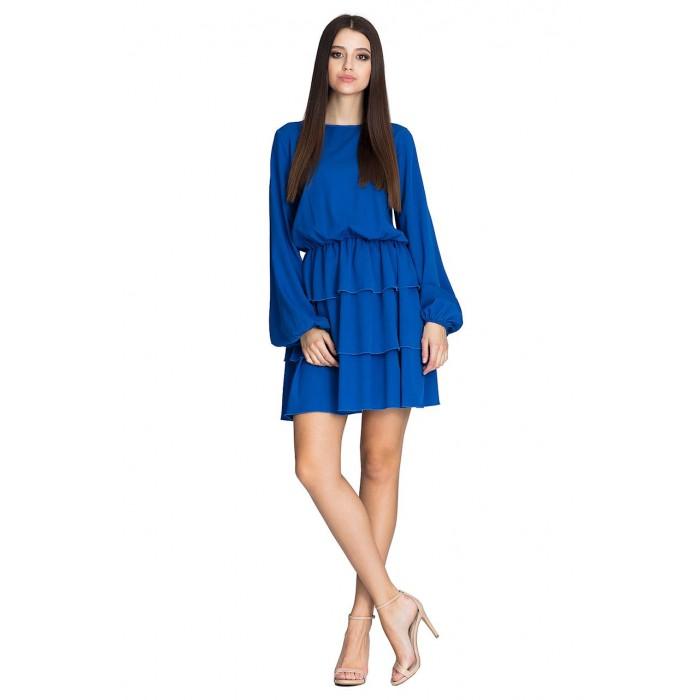 Kráľovsky modré úpletové šaty s troma volánikmi M601 d90c5998f81