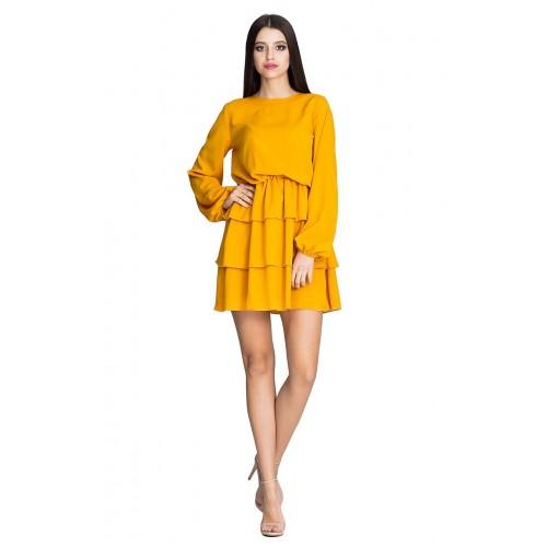 Horčicovo žlté úpletové šaty s troma volánikmi M601