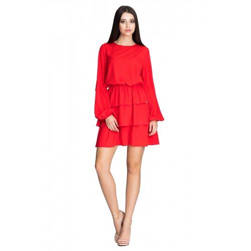 Červené úpletové šaty s troma volánikmi M601