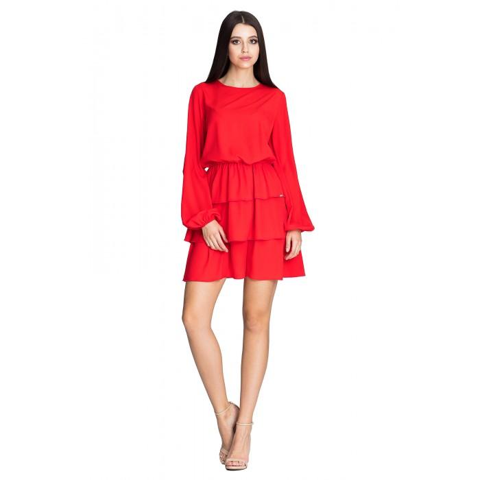 9c2233b411c5 Červené úpletové šaty s troma volánikmi M601