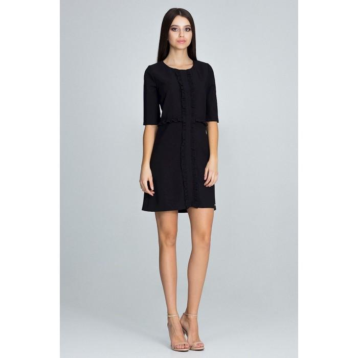 96b1e0ff0226 Dámske čierne šaty s volánikmi a 3 4 rukávom M618