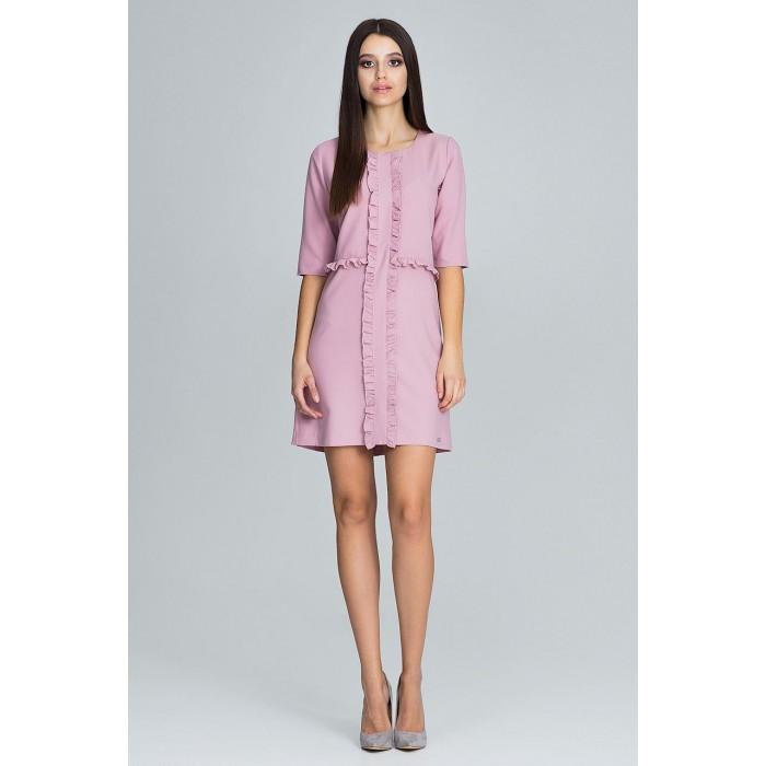 9cdecd2aec14 Dámske ružové šaty s volánikmi a 3 4 rukávom M618