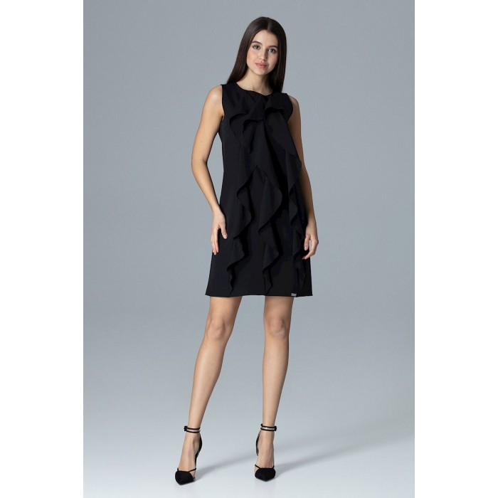 fb85087941d9 Dámske čierne šaty s volánmi v Alínii M622