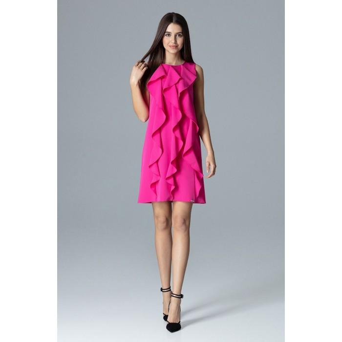 8e8547e9969b Dámske fuchsiové šaty s volánmi v Alínii M622