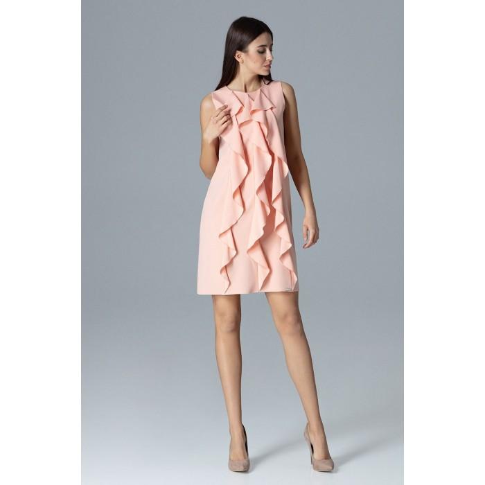 2158c9a3d884 Dámske ružové šaty s volánmi v Alínii M622