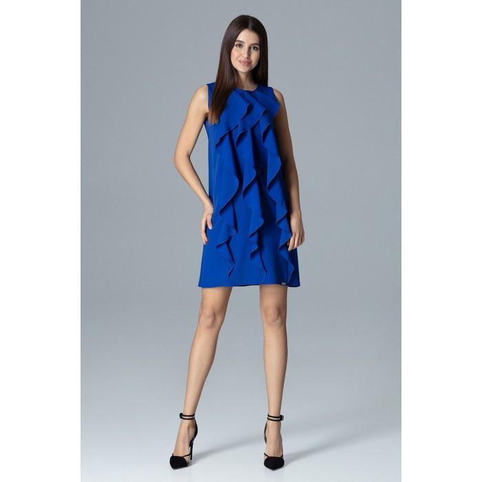 f87242150811 Dámske kráľovsky modré šaty s volánmi v Alínii M622