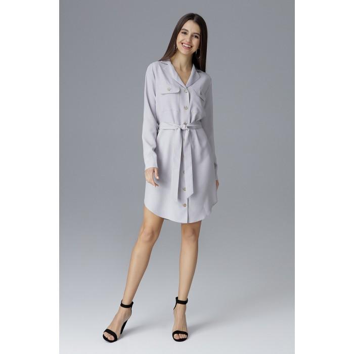 37d2b9ad550c Svetlosivé košeľové šaty s opaskom na zapínanie M630