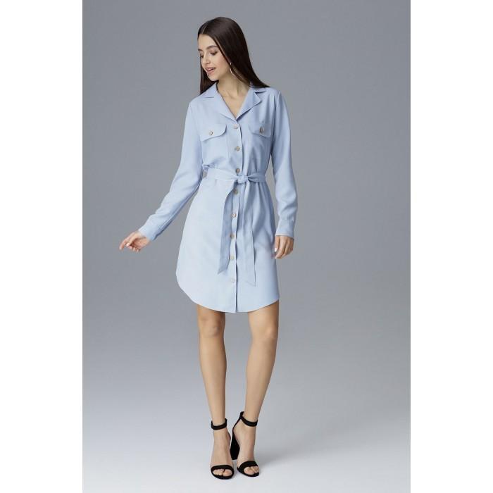 eecc6b7332c Svetlomodré košeľové šaty s opaskom na zapínanie M630