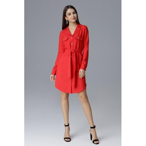 Červené košeľové šaty s opaskom na zapínanie M630