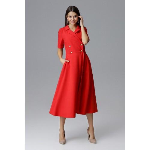 Červené MIDI šaty s ozdobnými gombíkmi M632