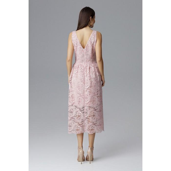 64a2e8c013b9 Ružové čikokované MIDI šaty bez rukávov M639