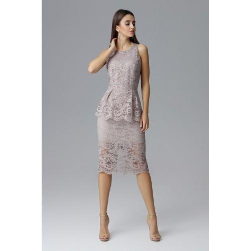 Béžové čikokované púzdrové šaty bez rukávov M640
