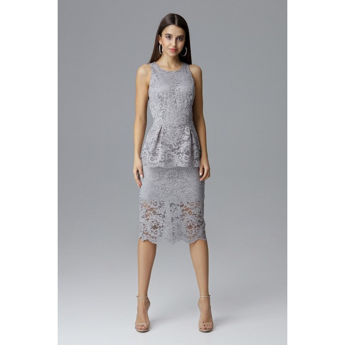 48770a16444d Sivé čikokované púzdrové šaty bez rukávov M640