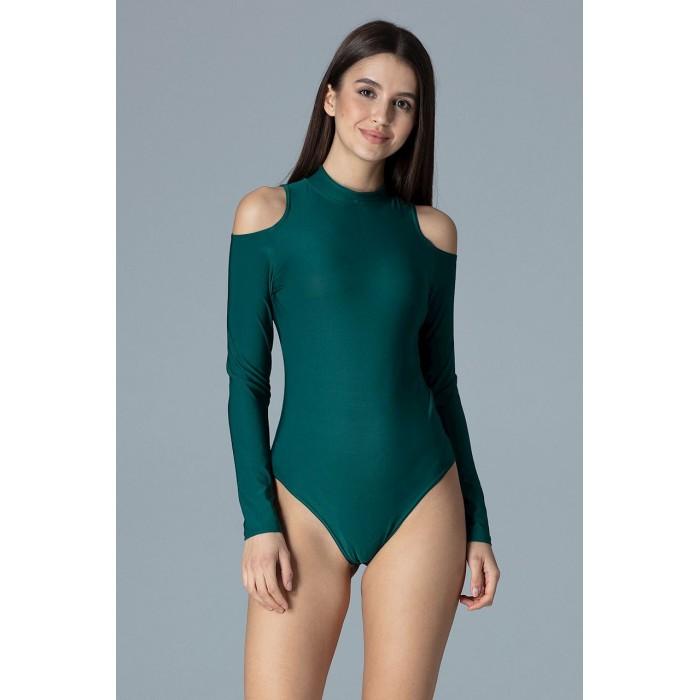 9e2ac293975b Smaragdovo zelené body s dlhým rukávom a odhalenými ramenami M650