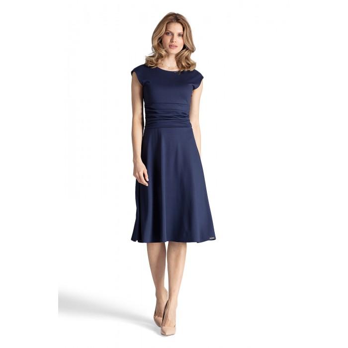 24bb43d82fc5 Tmavomodré šaty s riaseným pásom v Alínii M660