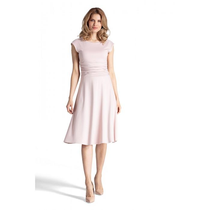 a37e81045194 Púdrovo ružové šaty s riaseným pásom v Alínii M660