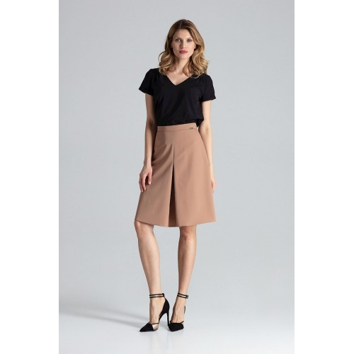 Hnedá sukňa A strihu s kontrafaldou M667