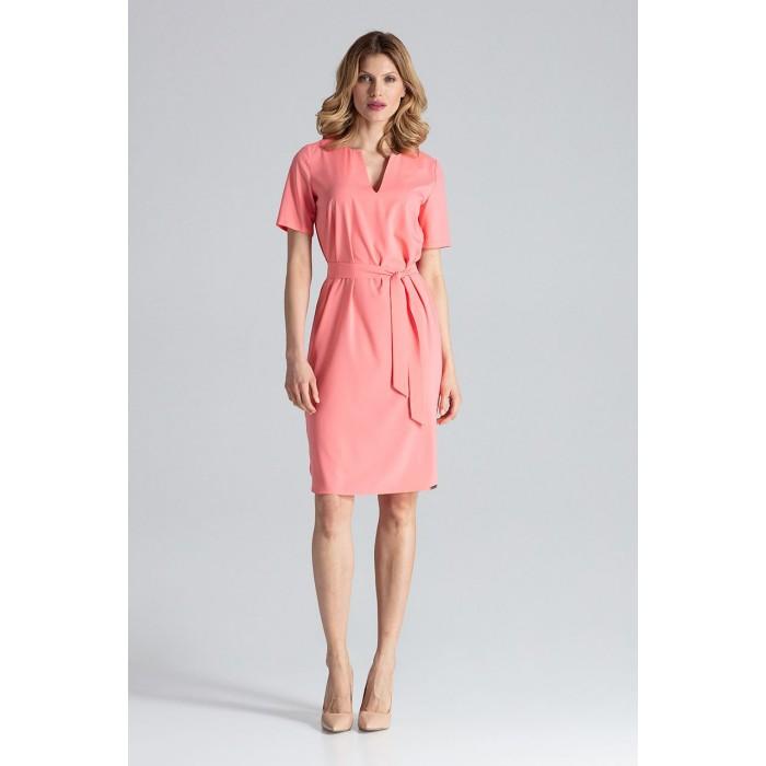 b1cd16992715 Koralové šaty s opaskom a krátkym rukávom M669