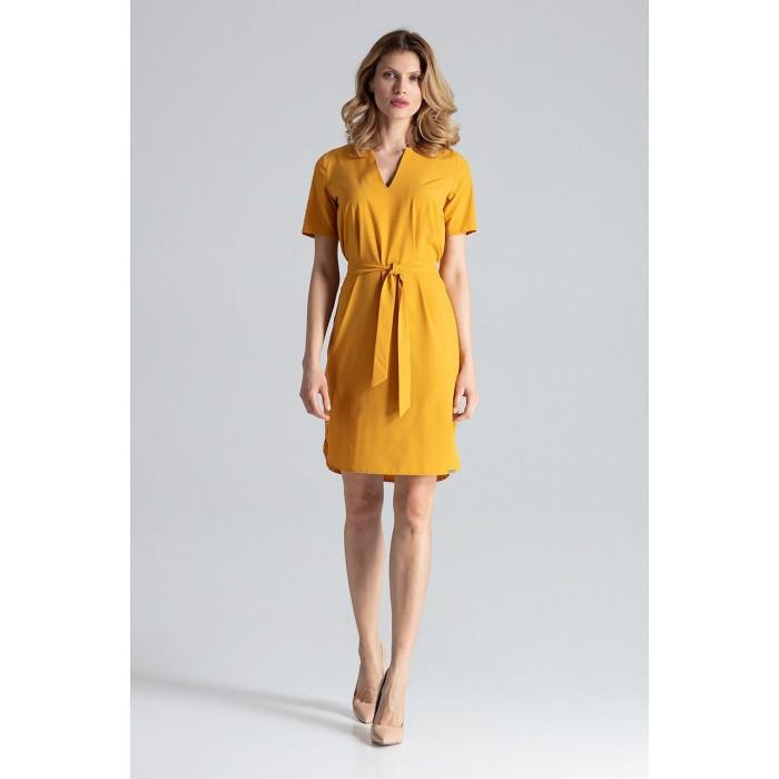 57af0309143a Horčicovo žlté šaty s opaskom a krátkym rukávom M669