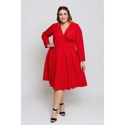 Červené šaty s rozšírenou sukňou ANIA Grandio