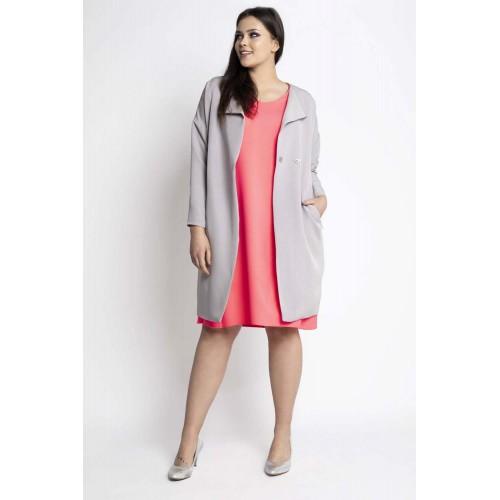 Sivý elegantný plášť so zapínaním HANKA Grandio