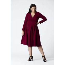 Bordové šaty s rozšírenou sukňou ANIA Grandio