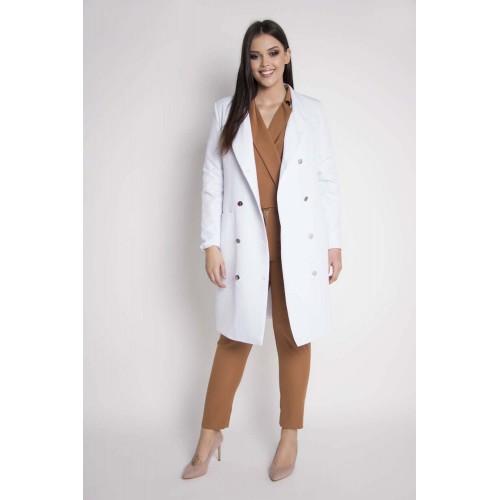 Biely elegantný plášť s dvojradovým zapínaním NASTIA Grandio