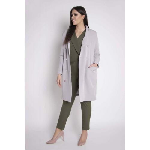 Sivý elegantný plášť s dvojradovým zapínaním NASTIA Grandio
