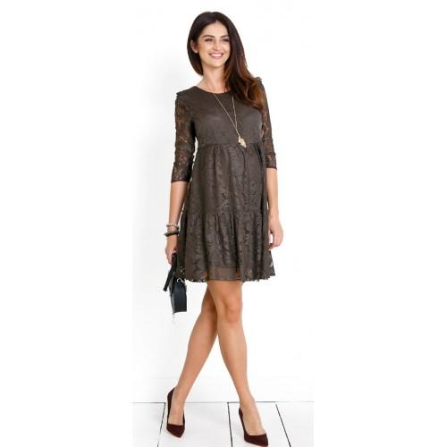 Tehotensé šaty Natalie khaki dress (d983a)