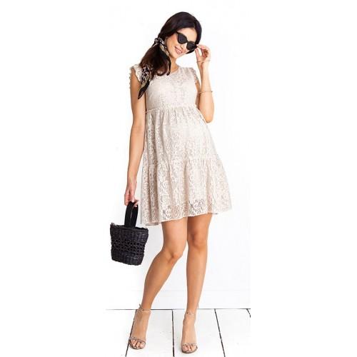 Tehotenské šaty Monique beige dress (D1012b)