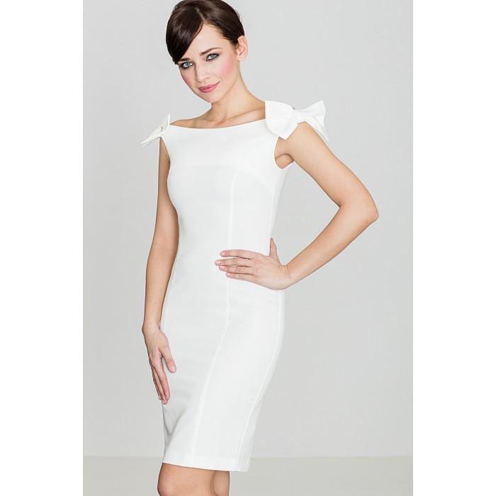 b556df61d55b Dámske biele púzdrové šaty s mašličkami K028