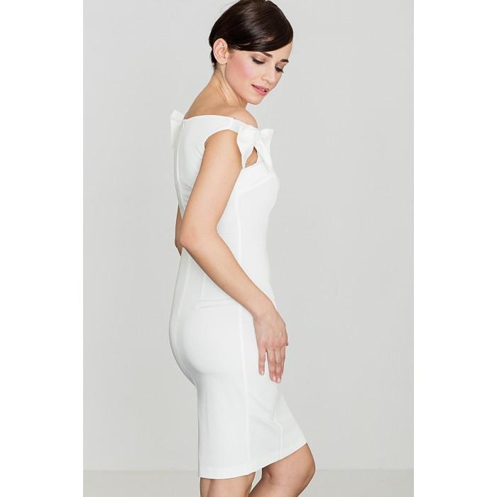 99f888075fc6 Dámske biele púzdrové šaty s mašličkami K028