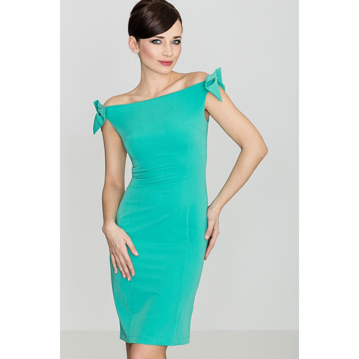 3db8b472bc64 Dámske zelené púzdrové šaty s mašličkami K028