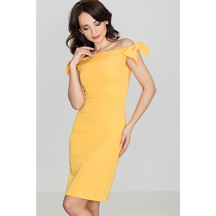 e868cc01c92a Dámske žlté púzdrové šaty s mašličkami K028